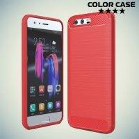 Жесткий силиконовый чехол для Huawei Honor 9 с карбоновыми вставками - Коралловый