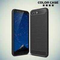 Жесткий силиконовый чехол для Huawei Honor View 10 (V10) с карбоновыми вставками - Черный