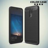 Жесткий силиконовый чехол для Huawei Nova 2i с карбоновыми вставками - Черный