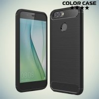 Жесткий силиконовый чехол для Huawei Nova 2 с карбоновыми вставками - Черный