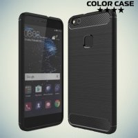 Жесткий силиконовый чехол для Huawei P10 Lite с карбоновыми вставками - Черный