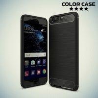 Жесткий силиконовый чехол для Huawei P10 Plus с карбоновыми вставками - Черный