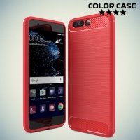 Жесткий силиконовый чехол для Huawei P10 с карбоновыми вставками - Коралловый