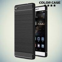 Жесткий силиконовый чехол для Huawei P8 с карбоновыми вставками - Черный