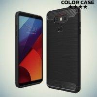 Жесткий силиконовый чехол для LG G6 H870DS с карбоновыми вставками - Черный