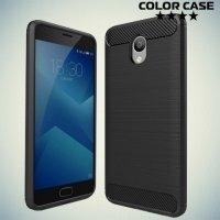 Жесткий силиконовый чехол для Meizu M5 Note с карбоновыми вставками - Черный