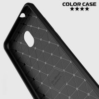 Жесткий силиконовый чехол для Meizu M5s с карбоновыми вставками - Черный