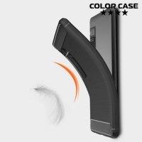 Жесткий силиконовый чехол для Meizu Pro 7 с карбоновыми вставками - Черный
