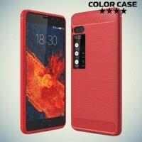 Жесткий силиконовый чехол для Meizu Pro 7 с карбоновыми вставками - Коралловый