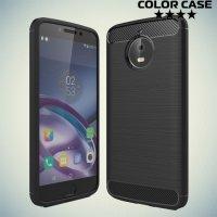 Жесткий силиконовый чехол для Motorola Moto E4 Plus с карбоновыми вставками - Черный