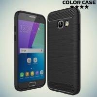 Жесткий силиконовый чехол для Samsung Galaxy A3 2017 SM-A320F с карбоновыми вставками - Черный