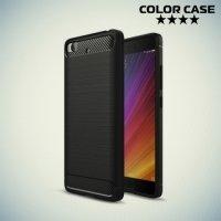 Жесткий силиконовый чехол для Xiaomi Mi 5s с карбоновыми вставками - Черный