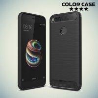 Жесткий силиконовый чехол для Xiaomi Mi 5x / Mi A1 с карбоновыми вставками - Черный
