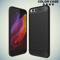 Жесткий силиконовый чехол для Xiaomi Mi 6 с карбоновыми вставками - Черный