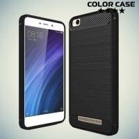 Жесткий силиконовый чехол для Xiaomi Redmi 4A с карбоновыми вставками - Черный
