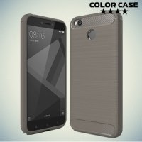 Жесткий силиконовый чехол для Xiaomi Redmi 4X с карбоновыми вставками - Серый