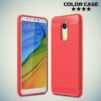 Жесткий силиконовый чехол для Xiaomi Redmi 5 с карбоновыми вставками - Коралловый