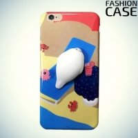 3D силиконовый чехол антистресс для iPhone X - Спящий поросенок