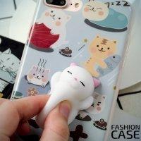 3D силиконовый чехол антистресс для iPhone 8 Plus / 7 Plus - Белый котик