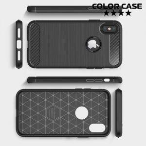 Жесткий силиконовый чехол для iPhone X с карбоновыми вставками - Черный