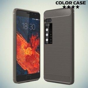 Жесткий силиконовый чехол для Meizu Pro 7 Plus с карбоновыми вставками - Серый