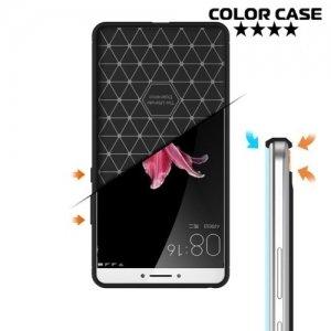 Жесткий силиконовый чехол для Xiaomi Mi Max с карбоновыми вставками - Черный