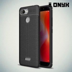 Leather Litchi силиконовый чехол накладка для Xiaomi Redmi 6 - Черный