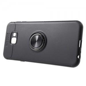 ArmaRing Двухкомпонентный чехол для Samsung Galaxy J4 Plus с кольцом для магнитного автомобильного держателя - Черный