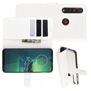 Чехол книжка кошелек с отделениями для карт и подставкой для Motorola Moto G8 Plus - Белый