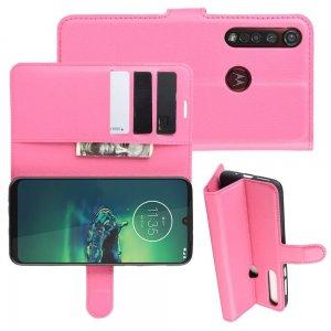 Чехол книжка кошелек с отделениями для карт и подставкой для Motorola Moto G8 Plus - Светло-Розовый
