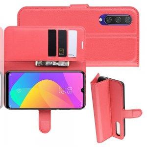 Чехол книжка кошелек с отделениями для карт и подставкой для Xiaomi Mi A3 - Красный
