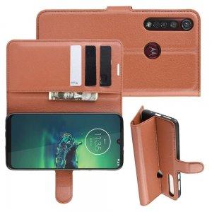 Чехол книжка кошелек с отделениями для карт и подставкой для Motorola Moto G8 Plus - Коричневый