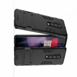Hybrid Armor Ударопрочный чехол для OnePlus 8 Pro с подставкой - Черный