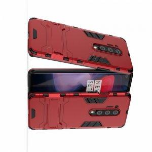 Hybrid Armor Ударопрочный чехол для OnePlus 8 Pro с подставкой - Красный