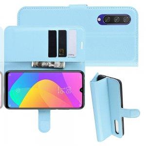 Чехол книжка кошелек с отделениями для карт и подставкой для Xiaomi Mi A3 - Синий