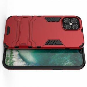 Hybrid Armor Ring Противоударный защитный двухслойный чехол с кольцом под палец подставкой держателем для iPhone 12 Pro Max 6.7 Красный