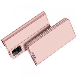 Dux Ducis чехол книжка для Samsung Galaxy M31s с магнитом и отделением для карты - Розовый