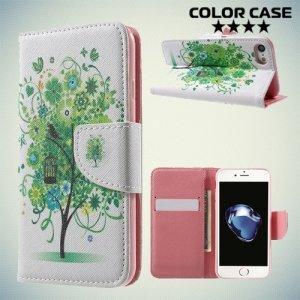 Чехол книжка для iphone 7 - с рисунком Дерево счастья