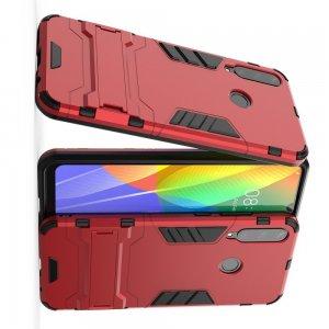 Hybrid Armor Ударопрочный чехол для Huawei Y6p с подставкой - Красный