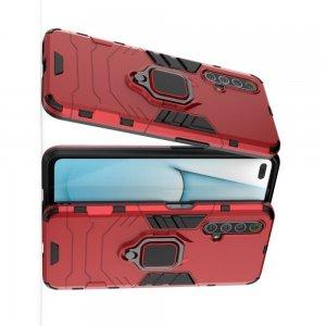 Hybrid Armor Ударопрочный чехол для Realme X3 Superzoom с подставкой - Красный