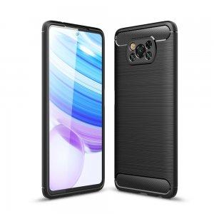 Carbon Силиконовый матовый чехол для Xiaomi Poco X3 NFC - Черный цвет