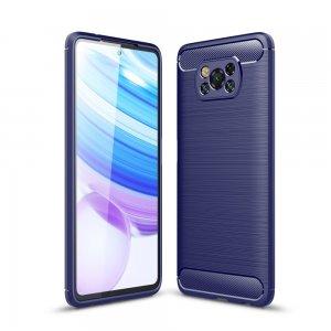 Carbon Силиконовый матовый чехол для Xiaomi Poco X3 NFC - Синий цвет