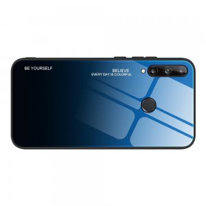 Силиконовый Градиентный Стеклянный Чехол для Huawei P40 lite E Синий / Черный