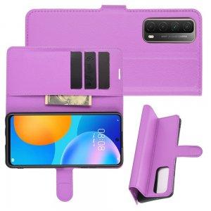 Чехол книжка для Huawei P Smart 2021 отделения для карт и подставка Фиолетовый