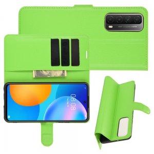 Чехол книжка для Huawei P Smart 2021 отделения для карт и подставка Зеленый