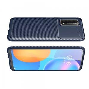 Carbon Силиконовый матовый чехол для Huawei P Smart 2021 - Синий