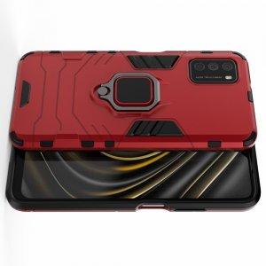 Hybrid Armor Ударопрочный чехол для Xiaomi Poco M3 с подставкой - Красный