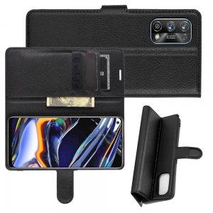 Чехол книжка для Realme 7 Pro отделения для карт и подставка Черный