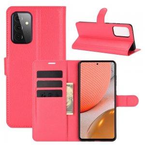 Чехол книжка для Samsung Galaxy A72 отделения для карт и подставка Красный