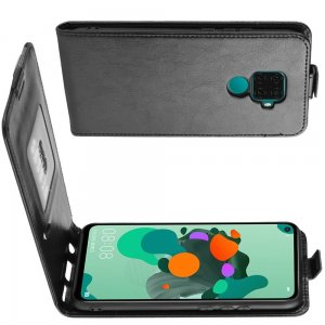 Флип чехол книжка вертикальная для Huawei Mate 30 Lite - Черный